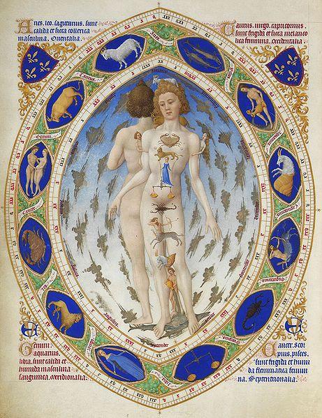 'Anatomía zodiacal del hombre', imagen incluida en la obra Tres Riches Heures du Duc de Berry, de los hermanos.Limbourg, 1411-1416, Museo Condé, en Chantilly, Francia.